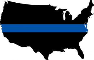 Thin Blue Line TBL United States of American Blue Line Decal 5x3 2