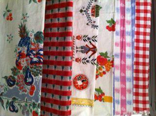 Vintage Lot 6 Cotton Linen Tablecloths Cherries Fruit Christmas Easter