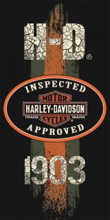 Harley Davidson Towel Beach Bath Motorcycle Biker Inspected Approved