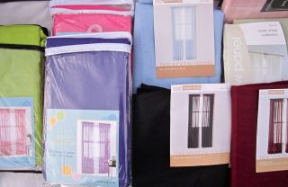 Sheer Curtain Panels X2 Hot Pink Purple Green Blue Burgundy Tracy Room