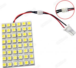 Car Interior 48 5050 SMD LED Light Lamp Panel T10 Dome Adapter