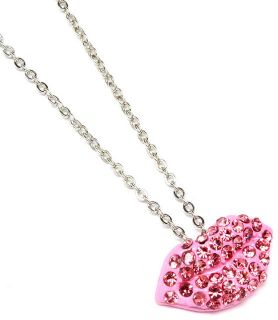 Ladies Womans Kissing Lips Pink Crystal Necklace Pendant