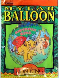 Very RARE Lion King Disney Birthday Party Mylar Balloon Princess Simba