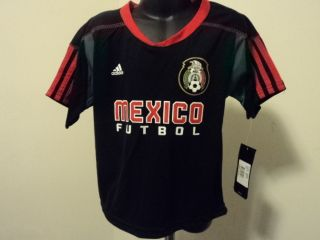 Adidas Mexico Futbol Football Soccer Little Kids Black Call Up Jersey