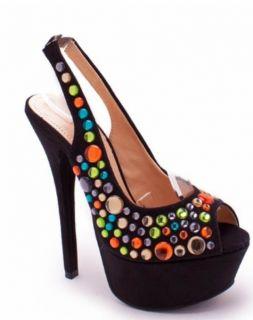 Liliana High Heels Shoes Stiletto Pumps Multi Color Jeweled Slingback