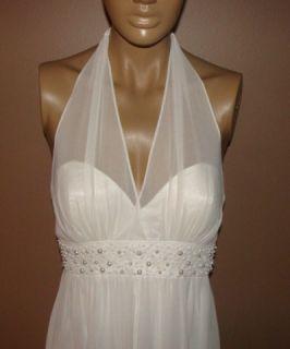 Liliana Pearl Waist White Wedding Prom Cocktail Dress 8