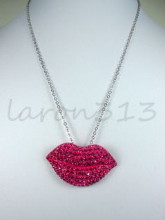 Wives Poparazzi Inspired Crystal Kiss Lips Pendant Necklace