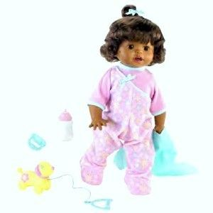 Little Mommy Walk Giggle African American Doll New