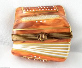 Limoges Box Rochard Accordion Musical Instrument Squeezebox Music
