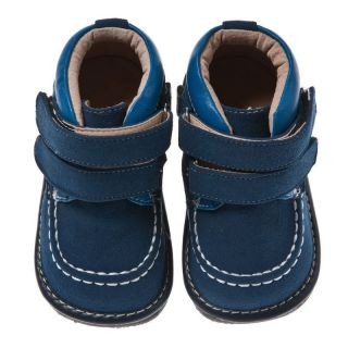 Little Blue Lamb Navy Leather Squeaky Shoes Boots Baby Toddler Boy Sz