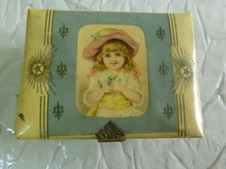 Antique Victorian Childs Jewelry Box Cellulite Lid Little Girl