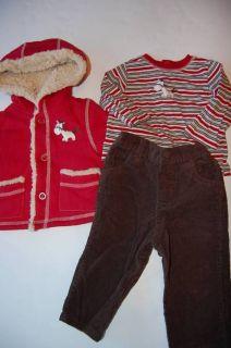 Little Me Outfit Baby Boy 12 Months 3 pc Coat Top Pants Horse Cowboy