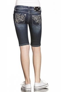 Kids Miss Me Little Girls 3 Flowers Bermuda Jeans
