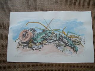 Hand Colored Little River Blue Crab Print Beach Sea