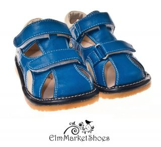 Boys Blue Double Strap Squeaky Sandal by Little Blue Lamb