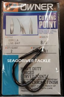Owner Gorilla Live Bait Fishing Hooks 5105 Size 8 0 New