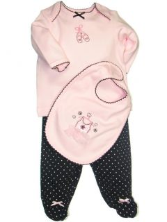Girls Little Me Preemie Baby Clothing Ballerina Footed Pants Outfit