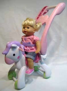 Fisher Price Little Mommy Doll Rocking Horse Stroller Talks Sings GPW