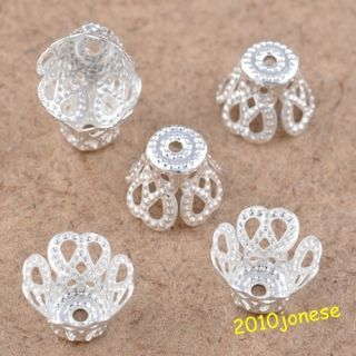 300 Pcs silver plated little flower beads caps charms jewelry findings