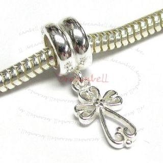 Sterling Silver Dangle Little Cross European Bead Charm