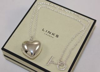 New Links of London Large Silver Heart Locket 16 Chain Pendant