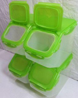 New Lock & Lock 4 Piece Flip Top Storage Bin Container Set w Colored
