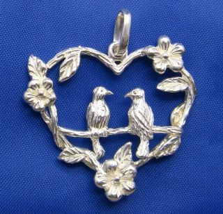 Vintage Sterling Silver Love Bird Heart Pendant Marked 925