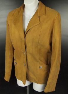 Vtg 60s Lipman Wolfe & Co Women M Leather Jacket Camel Suede Blazer
