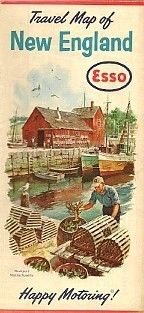 1963 Esso Gas Lobster Pot Road Map New England Rockport
