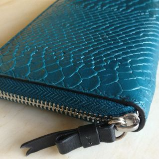 Lodis Blue Teal Snake Skin Embossed Leather Zip Around Wallet New