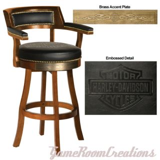 HARLEY DAVIDSON Bar & Shield Flames Heritage Brown Backrest Bar Stool