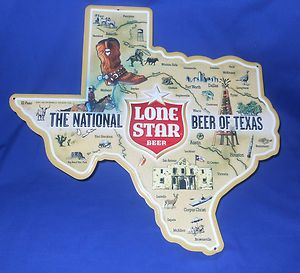 Lone Star Beer Texas Shape Tin Sign Nice RARE