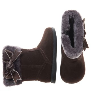 Little Blue Lamb Brown Leather Fleece Shoes Boots Toddler Girl 6 to 10