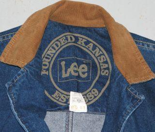 Jean Jacket Blue Denim Long Barn Chore Coat Sz s Small RARE