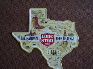 Lone Star Beer Texas State Metal Tacker Sign