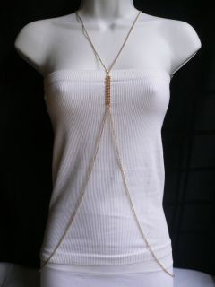 NEW WOMEN LONG NECKLACE PINK GOLD RHINESTONES FASHION METAL BODY CHAIN