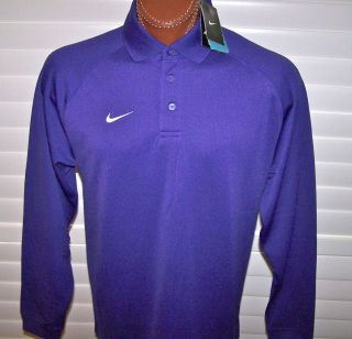 Nike Dri Fit Stay Cool Long Sleeve Polo Sz L Purple