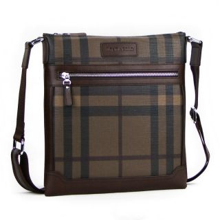New Londa Polo Mens Fashion Faux Leather Shoulder Messenger Check