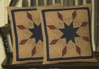 Lone Star Pattern Quilted Throw Accent Pillows Tea Dyed