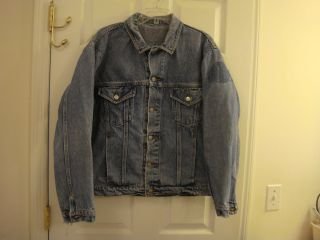 Mens Vintage Distressed Harley Davidson Denim Biker Live to Ride