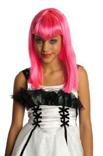 Girls Pink Wig Neon Glitter Bangs Widow Peak Long Hair Pretty Vampire