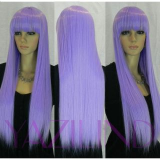 lovely cosplay party bangs fringe long hair full synthetic wig s2