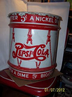 VTG 1940S PEPSI COLA 10 GALLON SYRUP CAN W/LID LONG ISLAND CITY, N.Y.