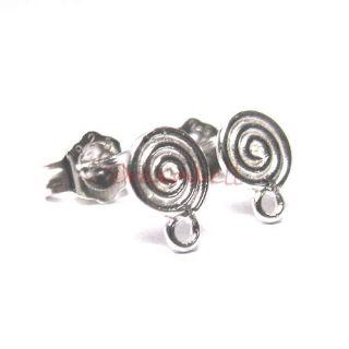 2X Sterling Silver Round Whirl Earrings Loop Post 7mm