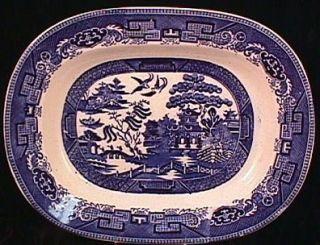 Antique Longton England Blue Willow Deep Serving Platter