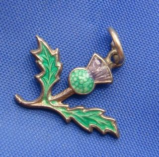 Vintage English Sterling Silver Enamel Scottish Thistle Charm Marked