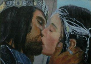 Original ACEO Sketch Card art LOTR Lord of the Rings Aragorn Arwen
