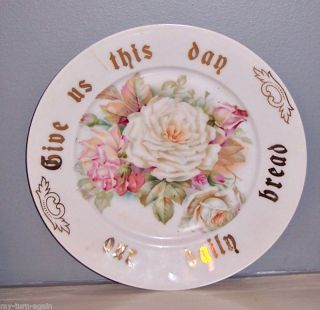 1900s Germany White Pink Cabbage Roses Porcelain Lords Prayer Plate
