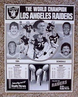 LOS ANGELES RAIDERS NFL FOOTBALL 84 WORLD CHAMPS ALLEN PLUNKETT POSTER