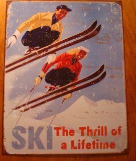 RETRO SKI SNOW SKIING LODGE RUSTIC METAL SKIER SIGN MOUNTAIN CABIN